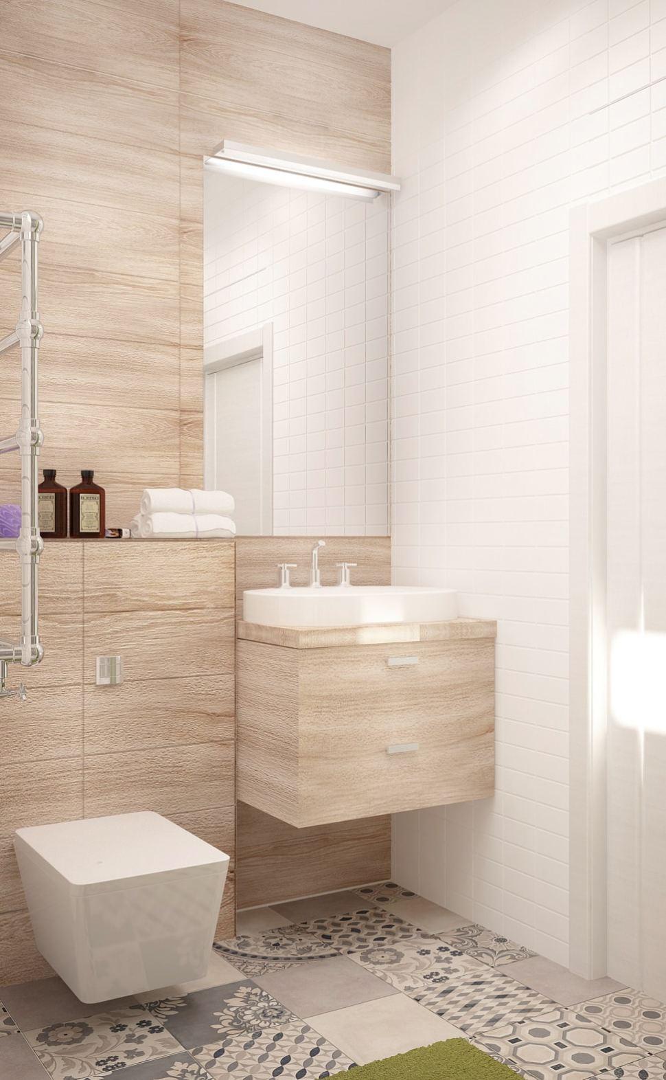 Дизайн ванной комнаты 5 кв.м в теплых тонах, унитаз, зеркало, бежевая тумба, полотенцесушитель, керамический гранит
