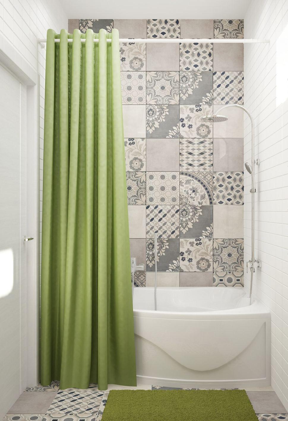 Визуализация ванной комнаты 5 кв.м в теплых тонах, ванная, душ, керамическая плитка, орнамент
