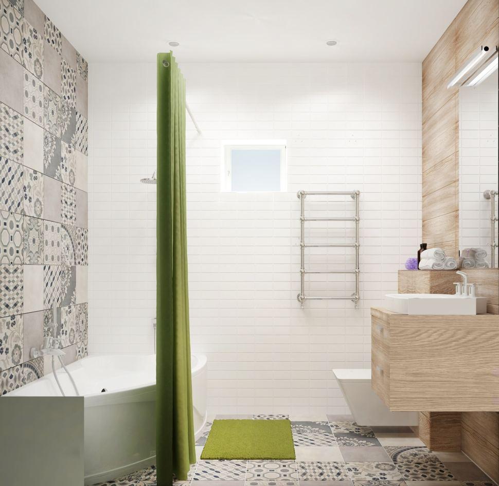 Визуализация совмещённого санузла с ванной комнатой 5 кв.м с древесными оттенками, бежевая тумба, раковина, ванная, душ, геометрическая плитка