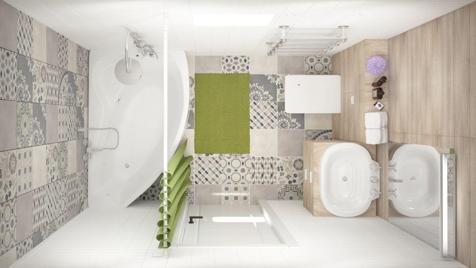 Дизайн интерьера совмещённого санузла с ванной комнатой 5 кв.м с серыми и зелеными оттенками, бежевая тумба, раковина, ванная, душ, зеркало