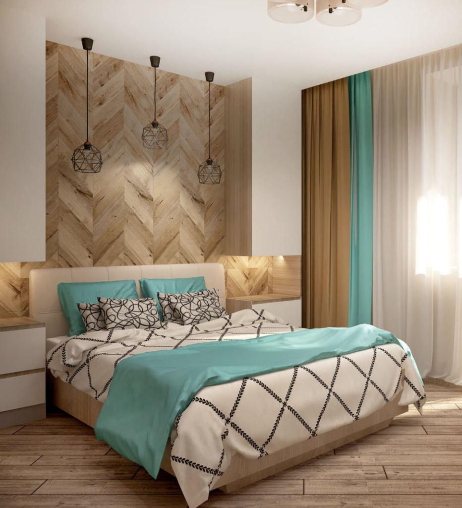 Дизайн интерьера спальни в бирюзовых тонах 9 кв.м, кровать с бирюзовыми акцентами, бирюзовые портьеры, черные подвесные светильники, бежевый ламинат