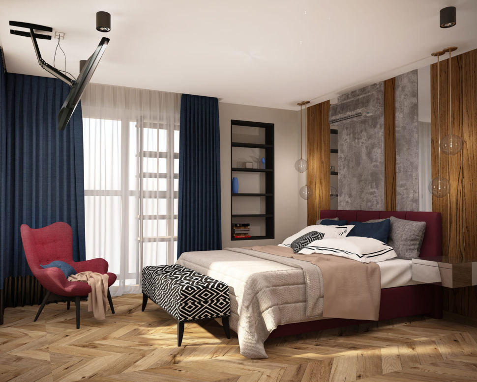Дизайн интерьера спальни в синих и бордовых тонах 16 кв.м, бело-черная скамья, телевизор, кровать, полки
