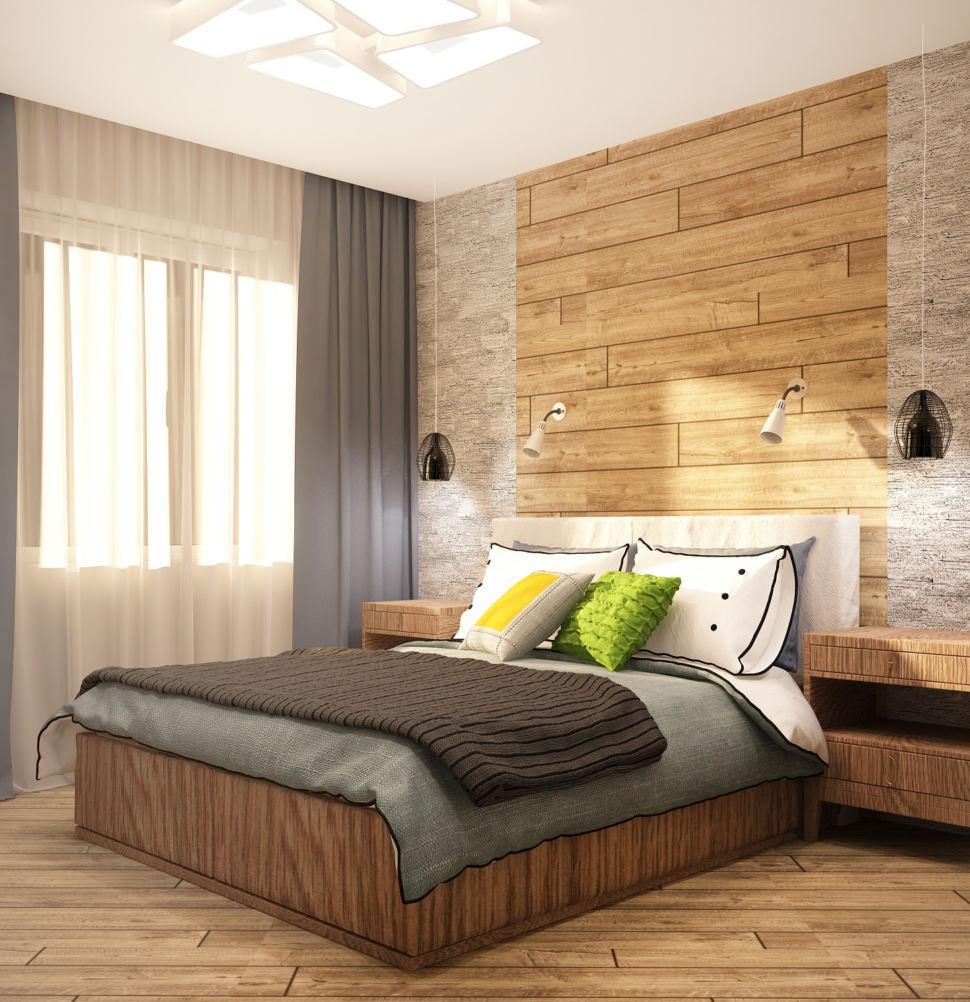 Визуализация спальни в теплых тонах 12 кв.м, двухместная кровать, синие шторы, подвесные светильники, ламинат, прикроватные тумбочки