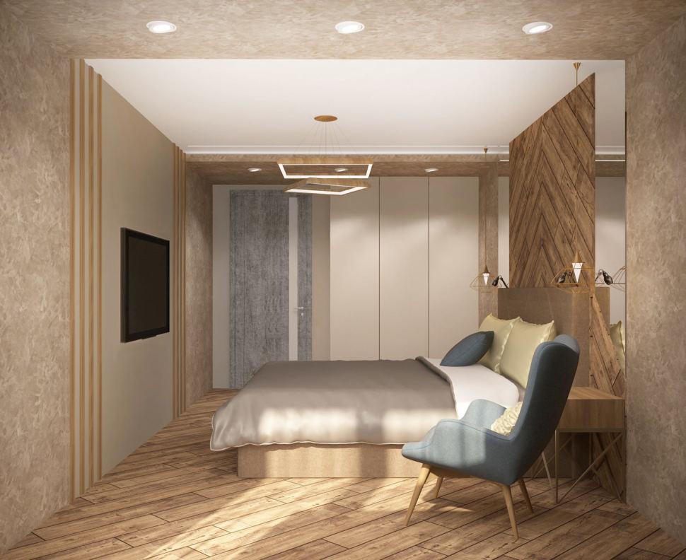 Визуализация спальни 17 кв.м в 3-х комнатной квартире со сложно-серыми оттенками, кровать, голубое кресло, телевизор, белый шкаф, люстра