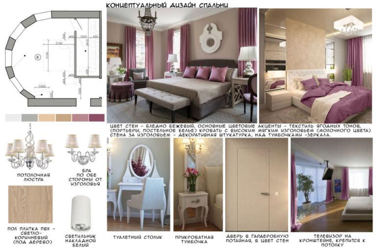Концептуальный дизайн спальни 28 кв.м, люстра, белый туалетный столик, прикроватная тумбочка, кровать