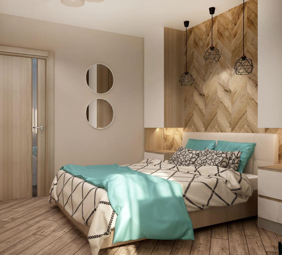 Дизайн интерьера спальни в бирюзовых тонах 9 кв.м, двухместная кровать, зеркало, белые прикроватные тумбы, черные подвесные светильники