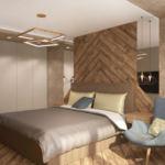 Визуализация спальни в серых тонах 17 кв.м, голубое кресло, люстра, белый шкаф, кровать, подвесной светильник