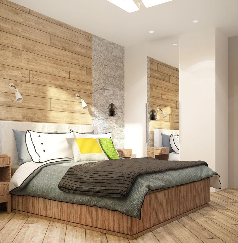 Дизайн-проект спальни в теплых тонах 12 кв.м, белый шкаф, зеркало, кровать, люстра, светильники, бежевый ламинат, прикроватные тумбочки