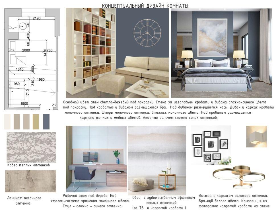 Концептуальный дизайн комнаты 15 кв.м, ковер темных оттенков, ламинат, рабочий стол, люстра, кровать, белый стеллаж, диван