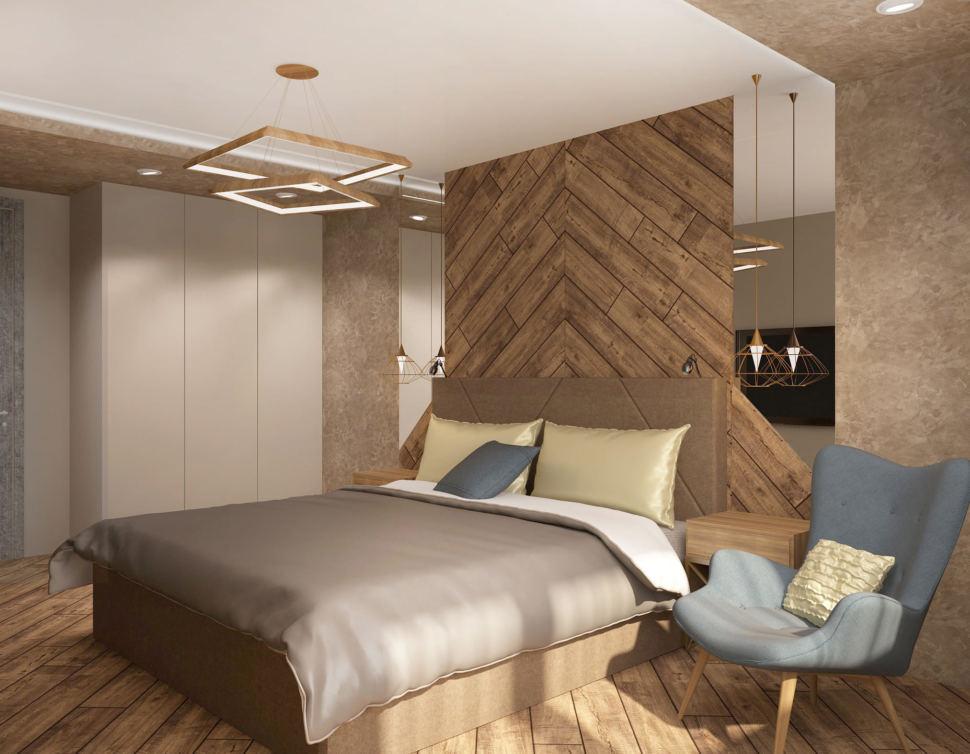 Дизайн-проект спальни 17 кв.м в 3-х комнатной квартире с белыми и медно-золотистыми оттенками, кровать, голубое кресло, белый шкаф