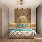 Визуализация спальни в бирюзовых тонах 9 кв.м, бежевая кровать, белые прикроватные тумбы, подвесные светильники, зеркало, бежевый ламинат, люстра