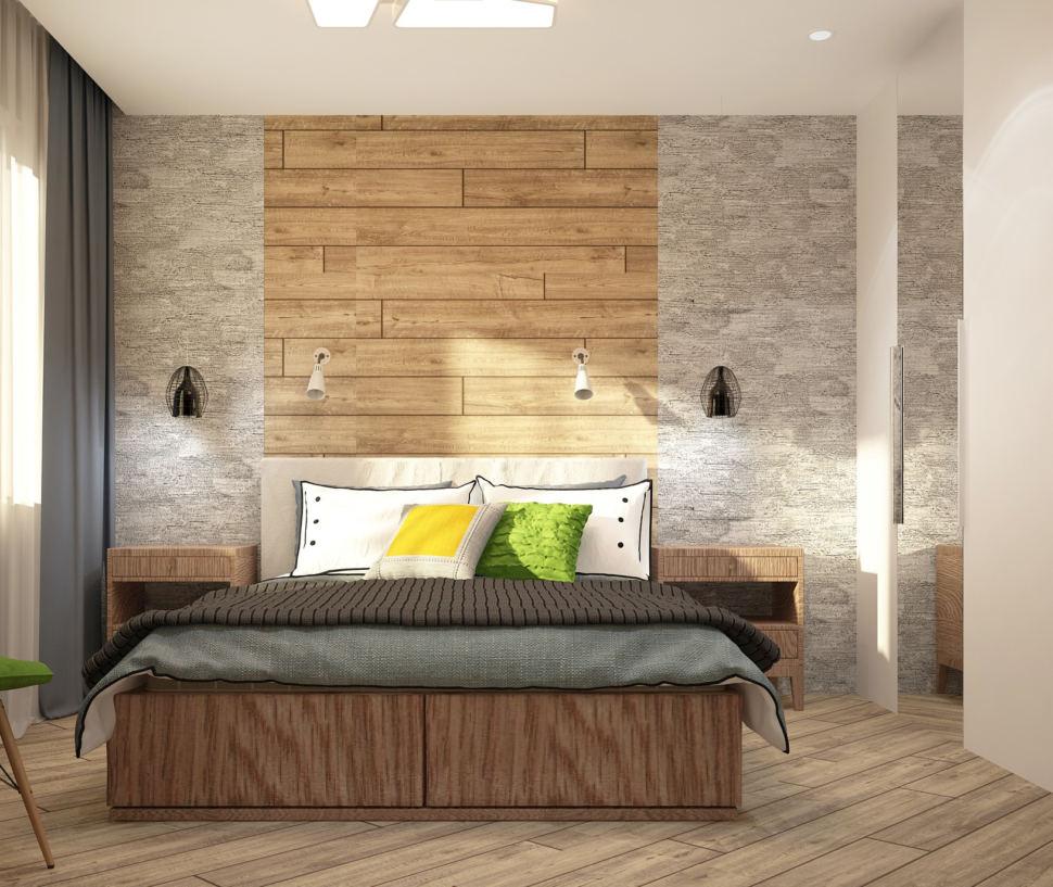 Дизайн интерьера спальни в теплых тонах 12 кв.м, кровать, прикроватные тумбы, светильники, белый шкаф, зеркало, синие шторы