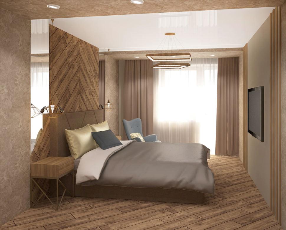 Дизайн интерьера спальни 17 кв.м в 3-х комнатной квартире с белыми и медно-золотистыми оттенками, кровать, голубое кресло, белый шкаф