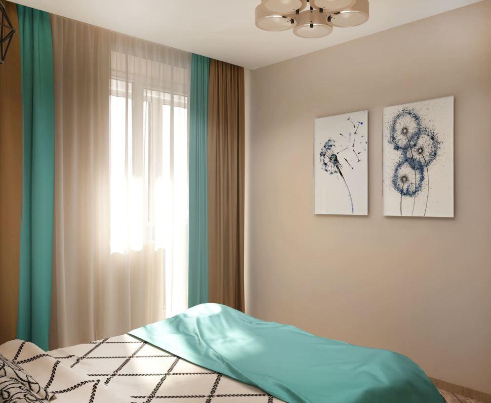 Дизайн-проект спальни в бирюзовых тонах 9 кв.м, кровать, люстра, синие портьеры, бежевый ламинат, декор