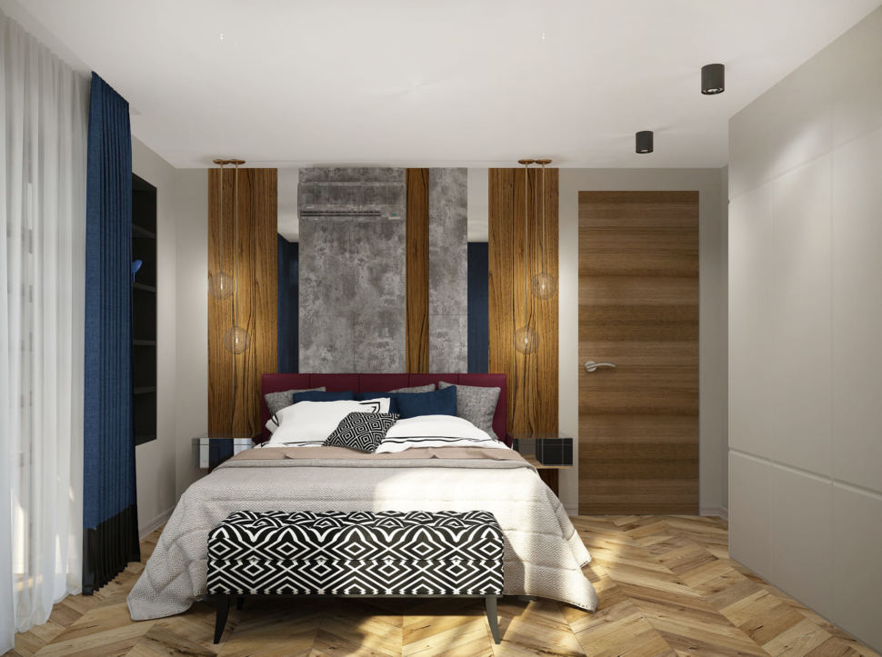 Дизайн интерьера спальни 16 кв.м в 4-х комнатной квартире с молочными оттенками, банкетка, бордовое кресло, синие портьеры, белый шкаф
