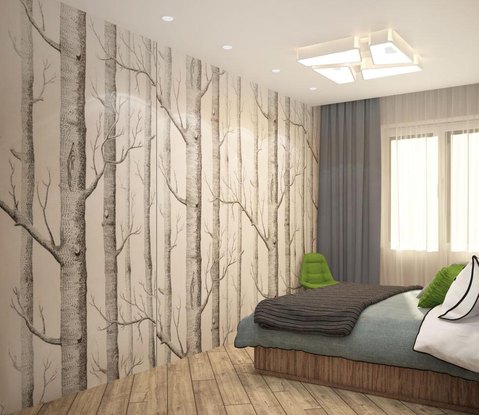 Дизайн-проект спальни в теплых тонах 12 кв.м, фотообои, зеленый стул, двухместная кровать под дерево, люстра, бежевый ламинат