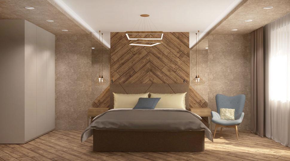 Дизайн интерьера спальни 17 кв.м в 3-х комнатной квартире со сложно-серыми оттенками, кровать, голубое кресло, белый шкаф, прикроватные тумбочки