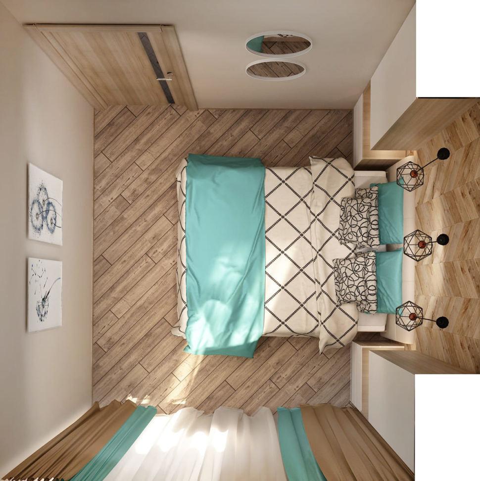 Визуализация спальни в бирюзовых тонах 9 кв.м, бежевый ламинат, черные подвесные светильники, белые прикроватные тумбы, кровать