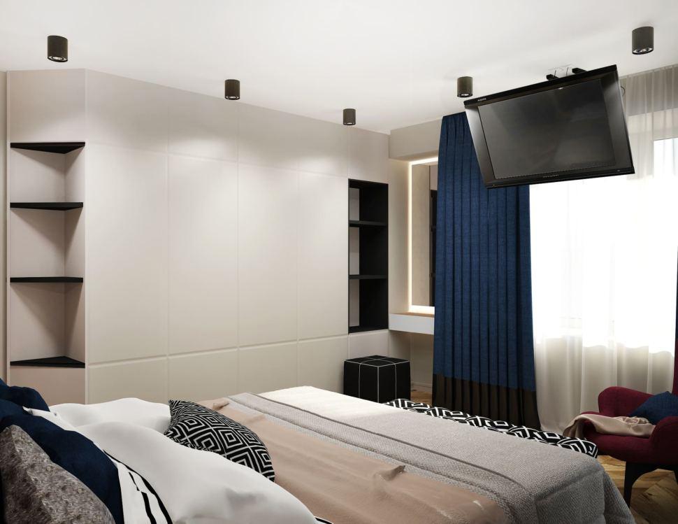 Дизайн интерьера спальни 16 кв.м в 4-х комнатной квартире со бордовыми оттенками, банкетка, бордовое кресло, синие портьеры, кровать, белый шкаф