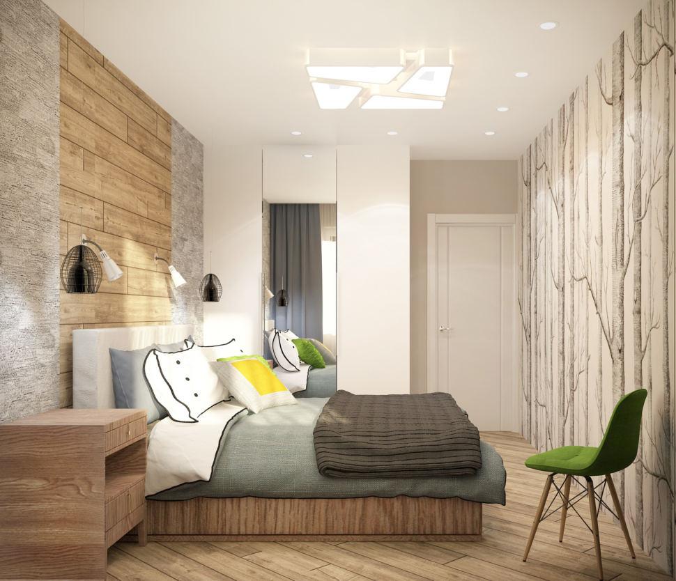Визуализация спальни в теплых тонах 12 кв.м, кровать, кресло, прикроватные тумбы, белый шкаф, фотообои