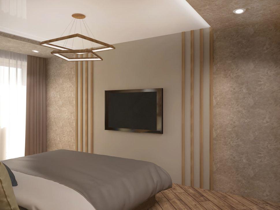 Визуализация спальни 17 кв.м в 3-х комнатной квартире с древесными оттенками, кровать, голубое кресло, белый шкаф, прикроватные тумбочки, телевизор, люстра