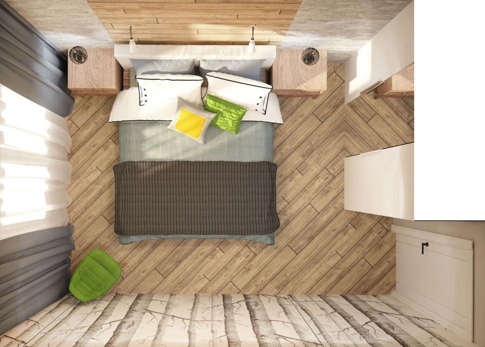 Дизайн интерьера спальни в теплых тонах 12 кв.м, кровать, зеленый стул, прикроватные тумбочки, подвесные светильники