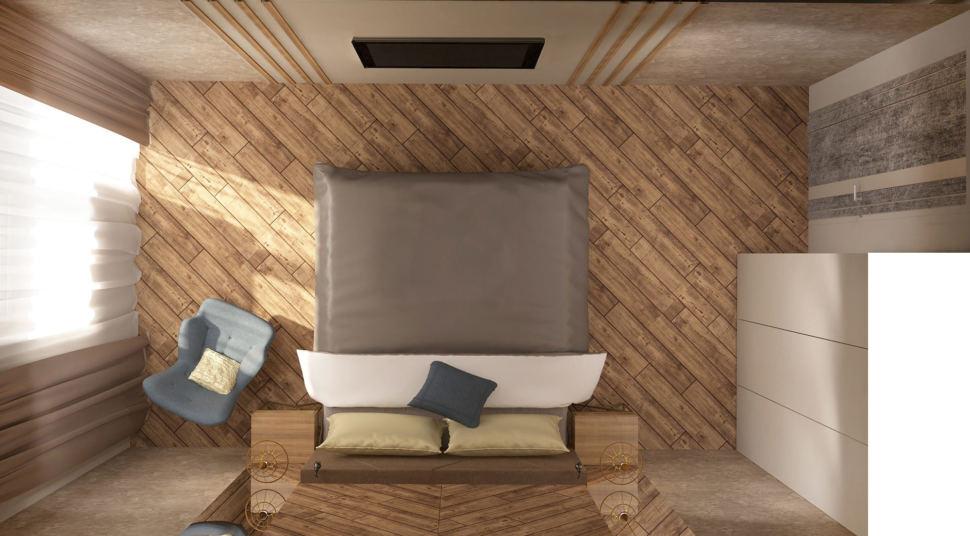 Дизайн-проект спальни 17 кв.м в 3-х комнатной квартире с молочными оттенками, кровать, голубое кресло, белый шкаф, телевизор, люстра