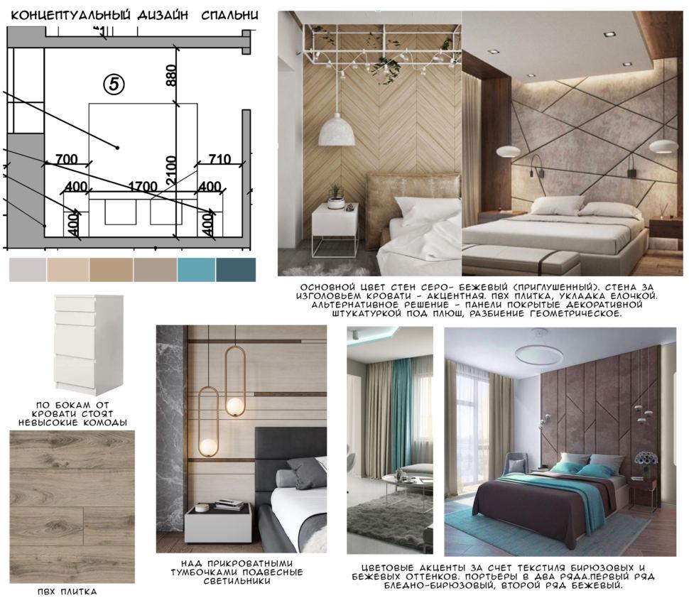 Концептуальный дизайн спальни 9 кв.м, пвх плитка, белые комоды, кровать, подвесные светильники