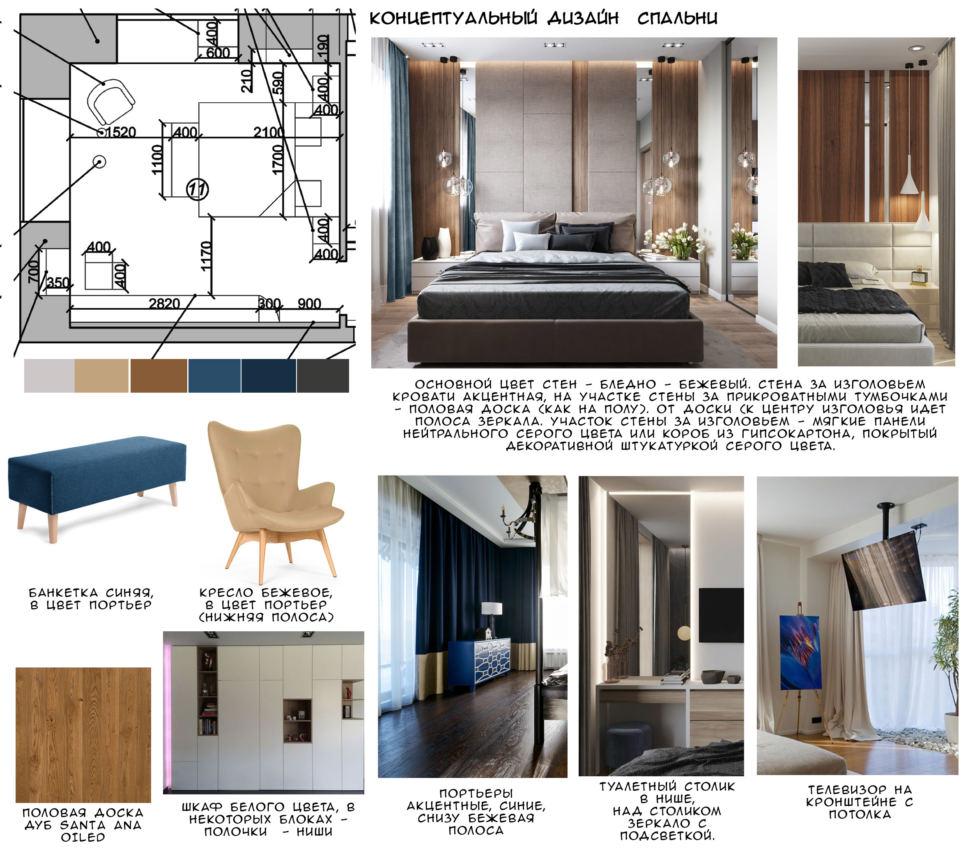 Концептуальный дизайн спальни 16 кв.м, половая доска, синяя банкетка, бежевое кресло, белый шкаф, синие портьеры, телевизор
