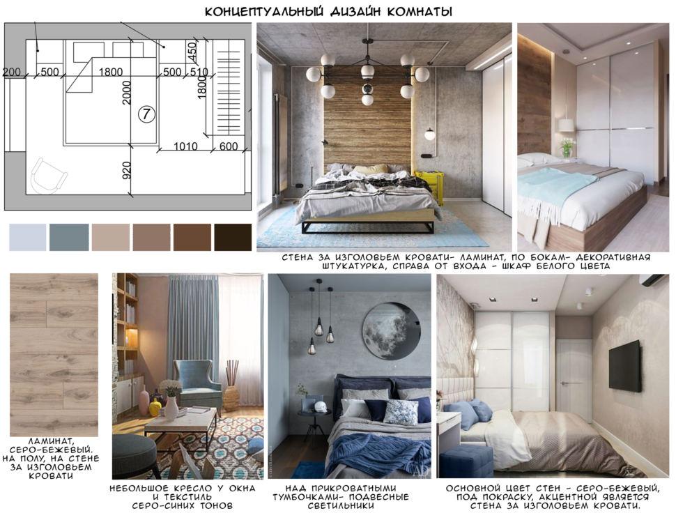 Концептуальный дизайн спальни 12 кв.м, светло-бежевый ламинат, голубое кресло, подвесные светильники, белый шкаф
