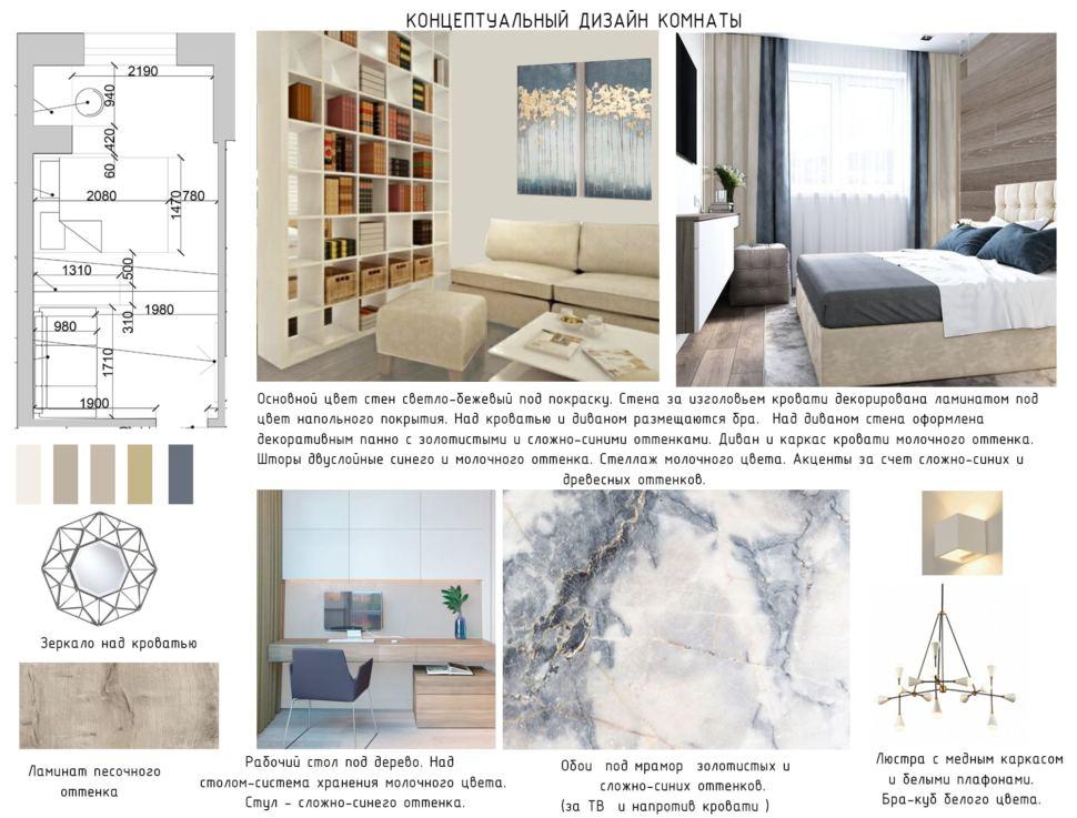 Концептуальный дизайн комнаты 15 кв.м, зеркало, ламинат песочного цвета, рабочий стол, бежевый диван, кровать, люстра