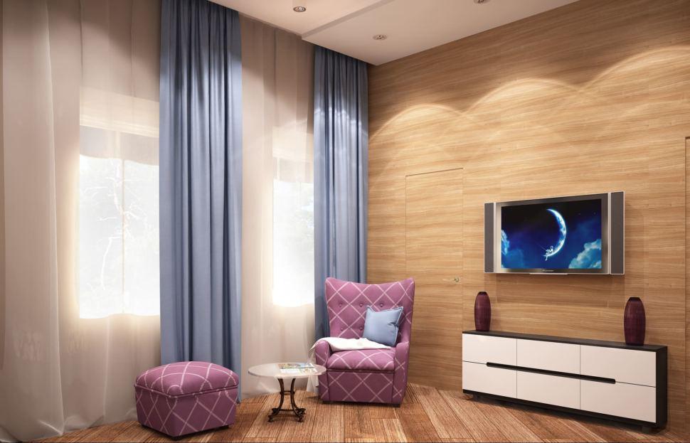 Дизайн-проект спальни родителей 23 кв.м в коттедже с нежными бежевыми оттенками и отделки под дерево в сочетании с ягодными акцентами, кровать, светильники
