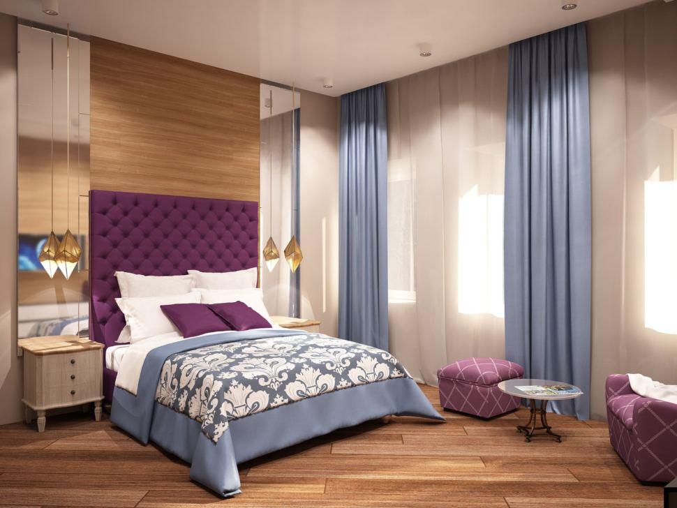 Визуализация спальни родителей 23 кв.м в коттедже с бежевыми оттенками и отделки под дерево в сочетании с ягодными акцентами, кровать, журнальный столик