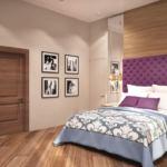 Дизайн спальни 23 кв.м с бирюзовыми оттенками, бирюзовый текстиль, зеркало, прикроватные тумбочки
