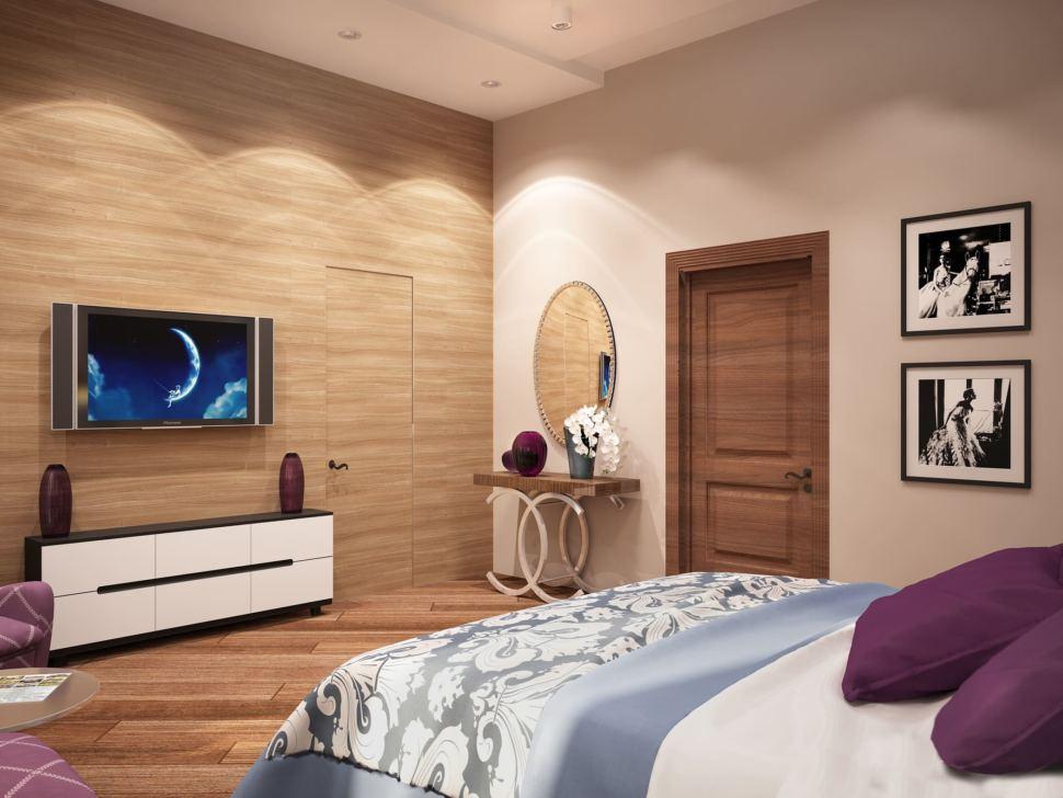 Визуализация спальни родителей 23 кв.м в коттедже с нежными бежевыми оттенками и отделки под дерево в сочетании с ягодными акцентами