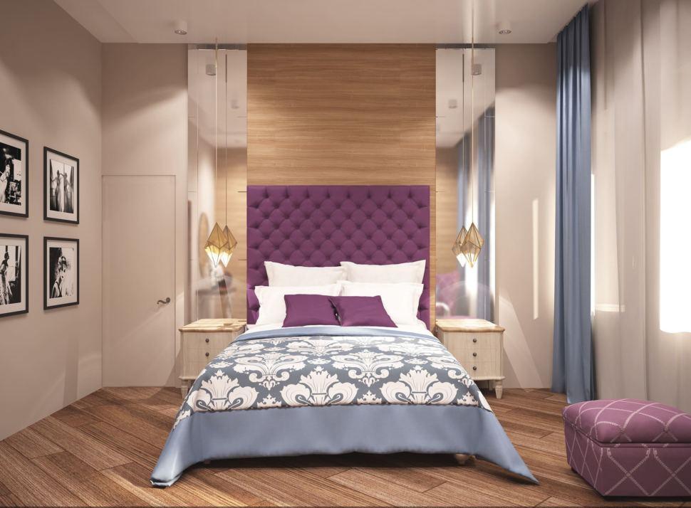 Визуализация спальни родителей 23 кв.м в коттедже с нежными бежевыми оттенками и отделки под дерево в сочетании с ягодными акцентами, кровать, пуф