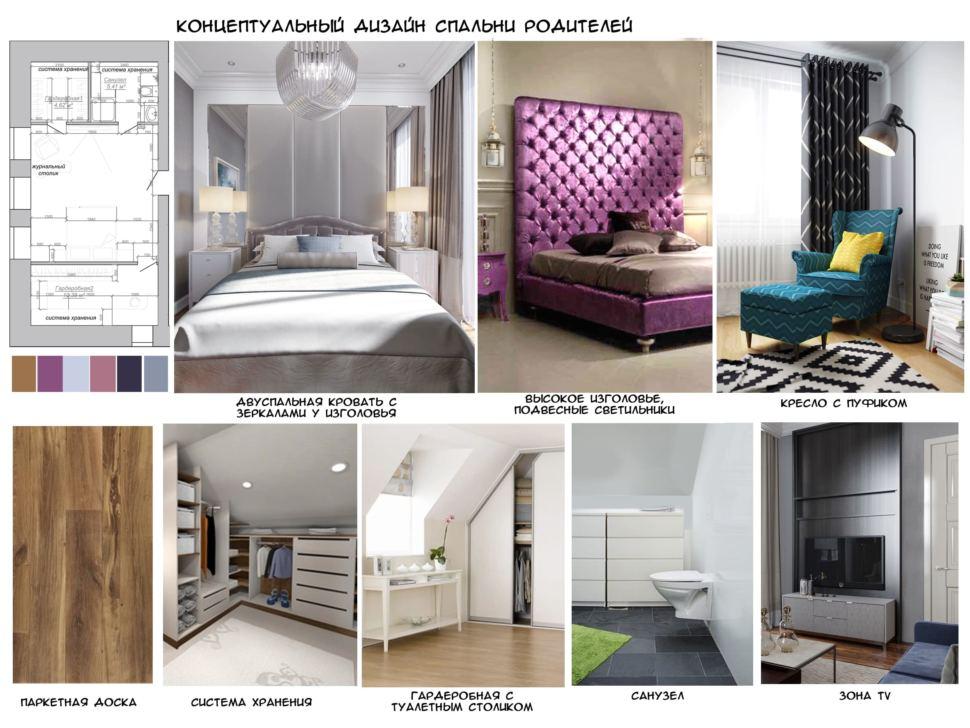 Концептуальный дизайн спальни для родителей 23 кв.м в коттедже с нежными оттенками, двухспальная кровать, паркетная доска, гардероб, система хранения