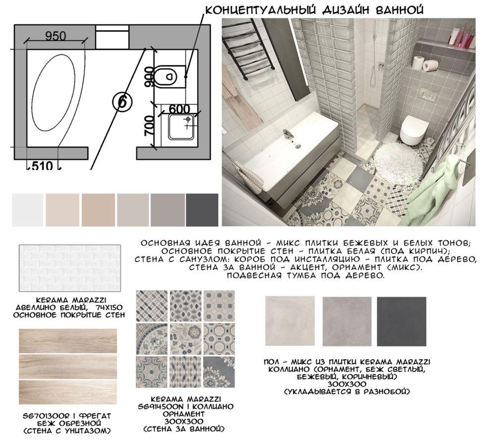 Концептуальный дизайн совмещенного санузла с ванной комнатой 5 кв.м с бежевыми и серыми оттенками, плитка бежевых и белых тонов
