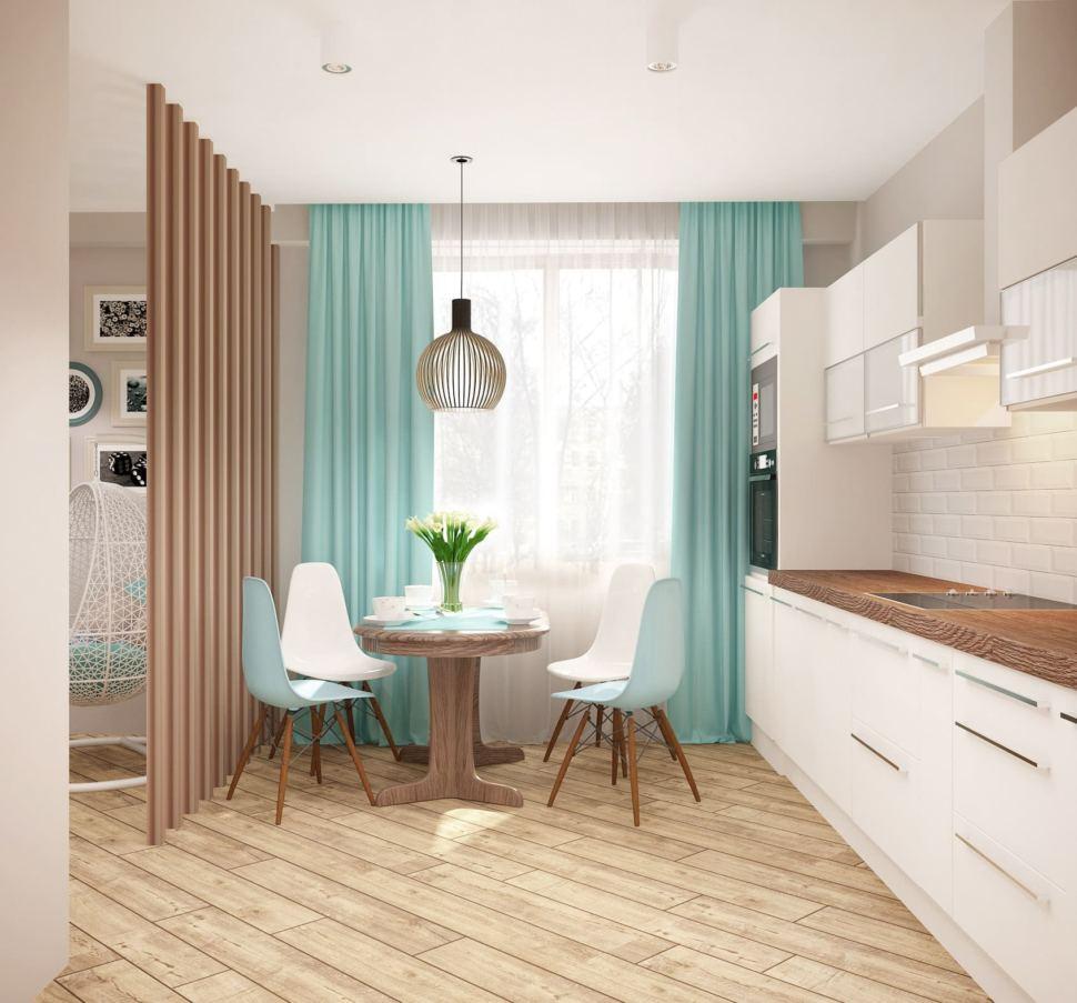 Визуализация кухни 13 кв.м в песочных тонах с бирюзовыми оттенками, портьеры, обеденная группа, белый кухонный гарнитур, бирюзовые портьеры, пвх плитка
