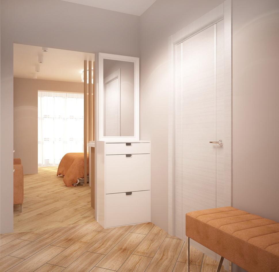 Интерьер прихожей 5 кв.м в светлых оттенках, потолочные светильник, бежевая банкетка, шкаф с зеркалом, бежевая пвх плиткаи