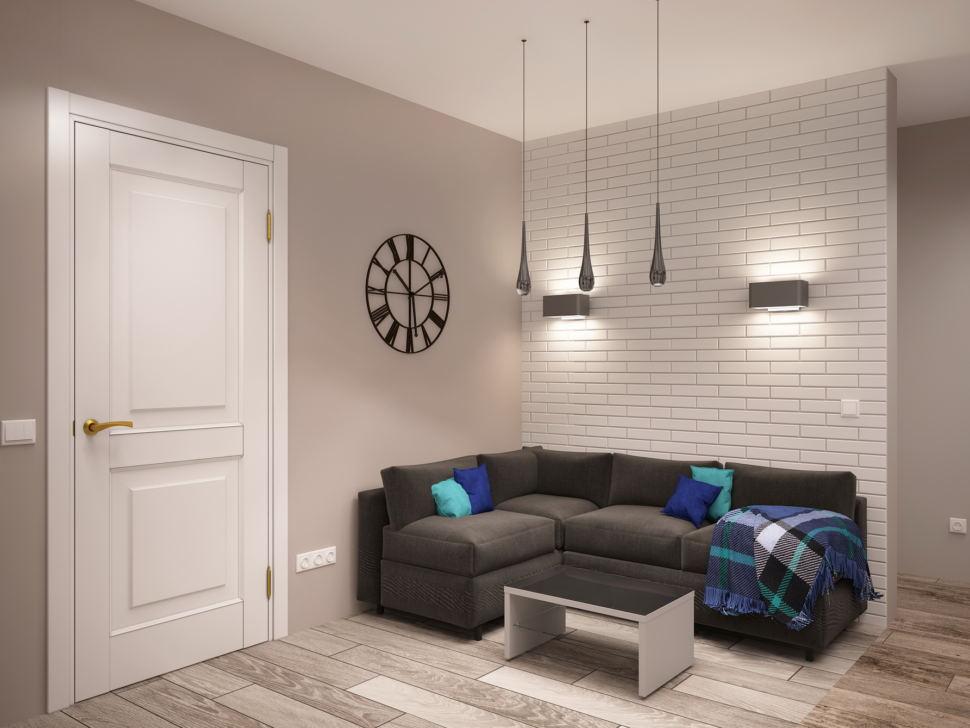 Интерьер гостиной 7 кв.м в нейтральных тонах, серый диван, подвесные светильники, ламинат, журнальный столик, декор