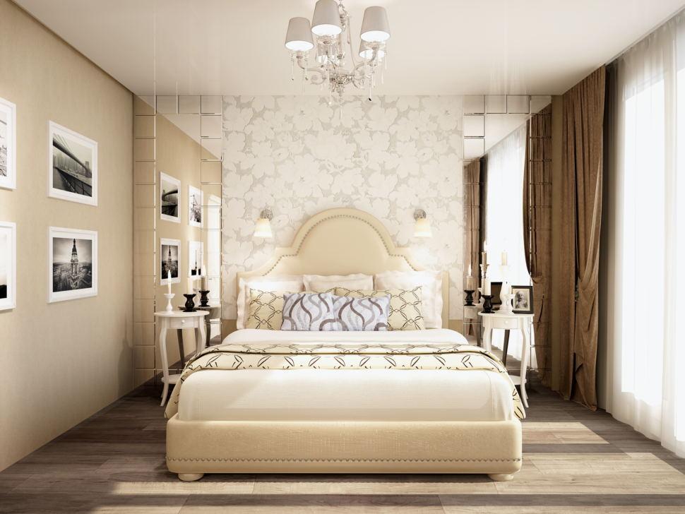 Дизайн спальни 20 кв.м в бежевых и кофейных тонах, декоративные обои, прикроватные тумбы, портьеры, бежевая кровать, зеркало, элементы декора