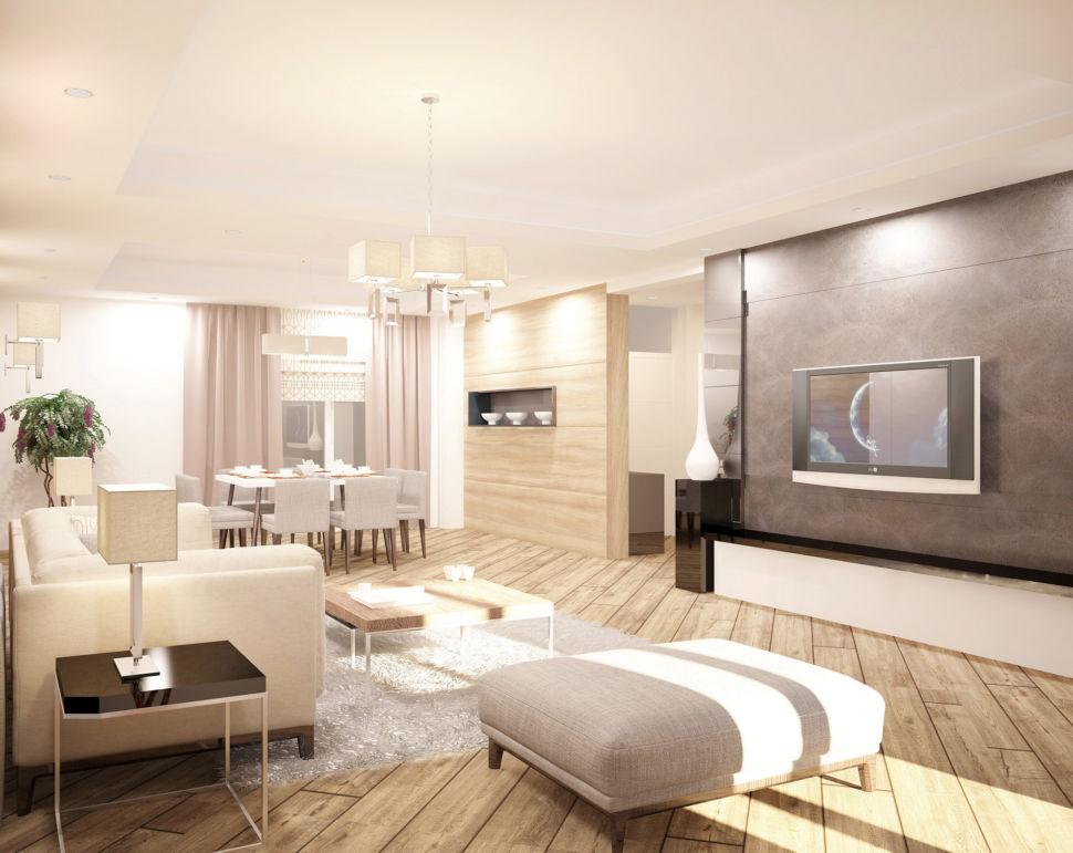 Визуализация гостиной 44 кв.м, белый диван, банкетка, журнальный столик, лампа, тумба под ТВ