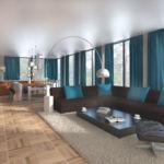 Визуализация гостиной 56 кв.м в бежевых оттенках с бирюзовыми акцентами, диван коричневый, торшер, ламинат, ковер, журнальный столик