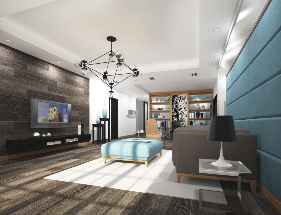 Проект гостиной 45 кв.м в бежевых тонах с бирюзовыми оттенками, паркет, мягкие панели, диван, тумба под ТВ, акцентная люстра