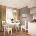 Визуализация кухни 14 кв.м в белых и бежевых тонах, белый обеденный стол, белые стулья, подвесной светильник, кухонный гарнитур, портьеры