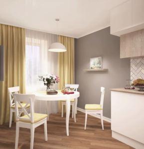Проект кухни 14 кв.м в в древесных и серых тонах, белый обеденный стол, стулья, люстра, телевизор