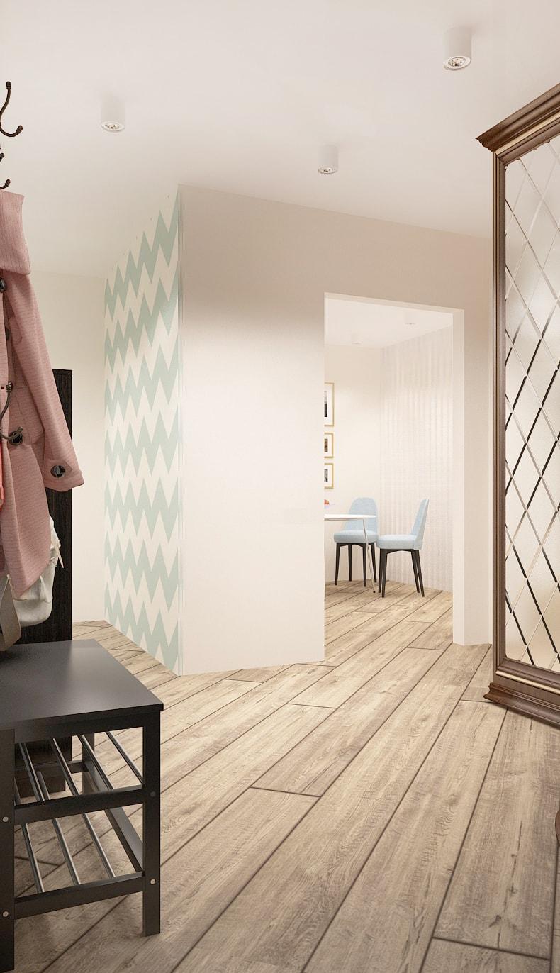 Интерьер прихожей 13 кв.м в теплых оттенках, кухня, открытая вешалка, зеркало, темная галошница, скамья - обувница