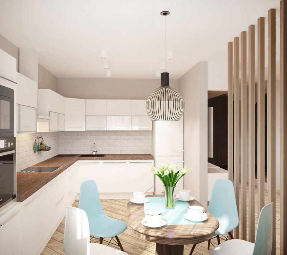 Дизайн кухни 13 кв.м в песочных тонах с бирюзовыми оттенками, портьеры, обеденный стол, белый кухонный гарнитур, подвесной светильник, стулья