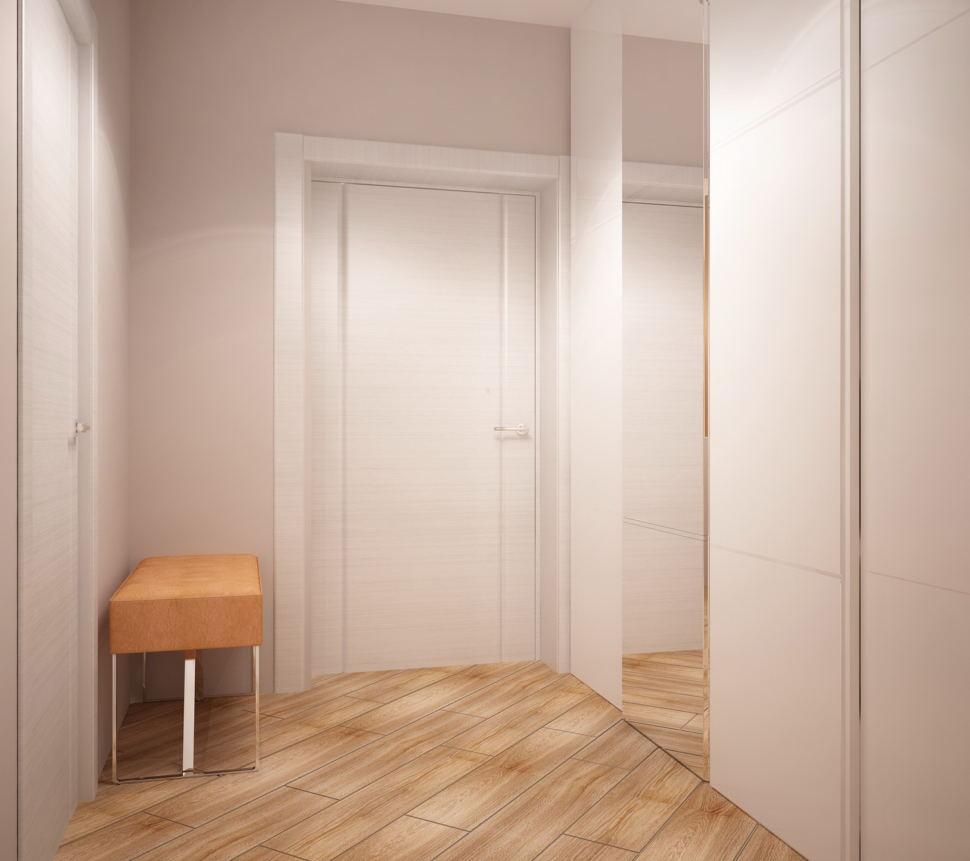 Визуализация комнаты 5 кв.м в теплых оттенках, пвх плитка, бежевая банкетка, белый шкаф с зеркалом, светильники